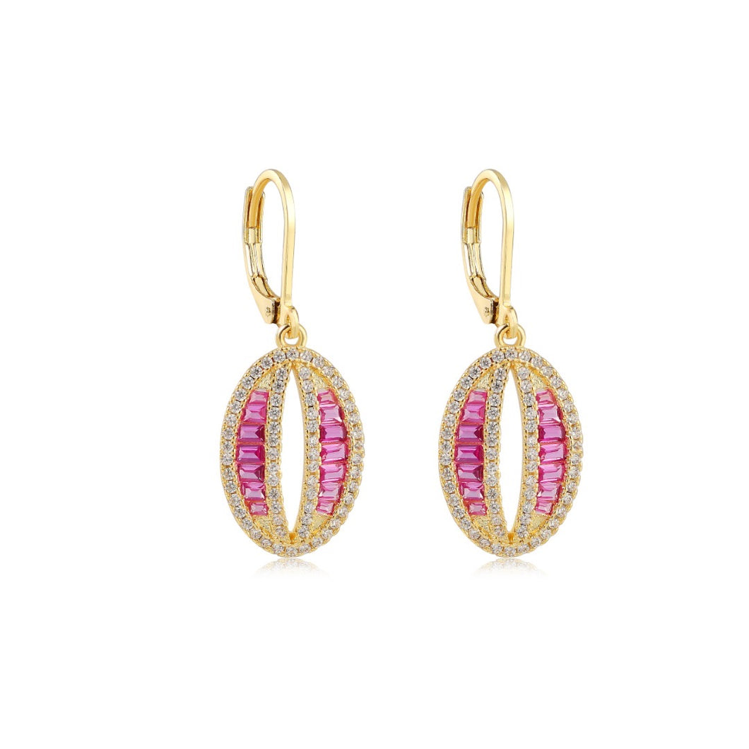 Pink and Gold Oval Lever Back Earrings