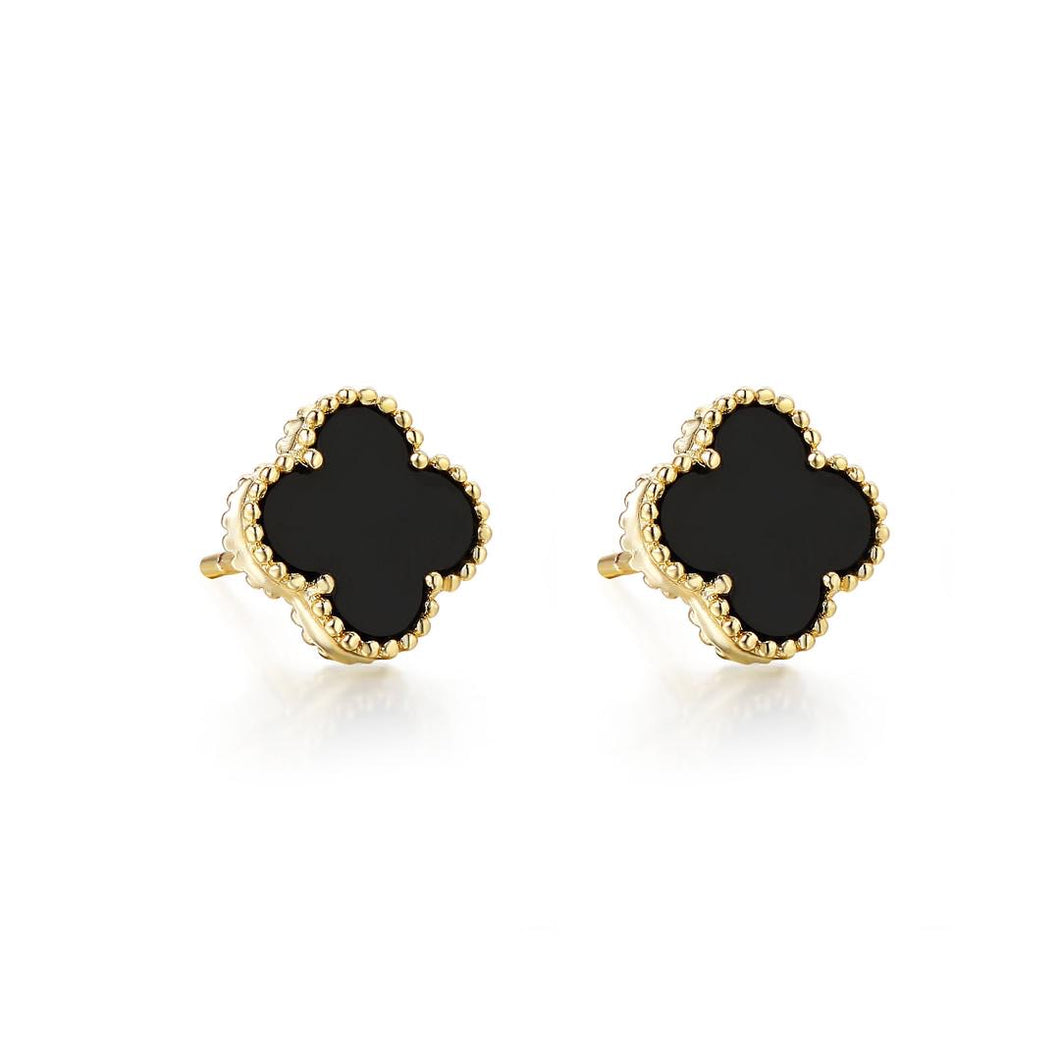 Black Clover Leaf Kids Stud Earring