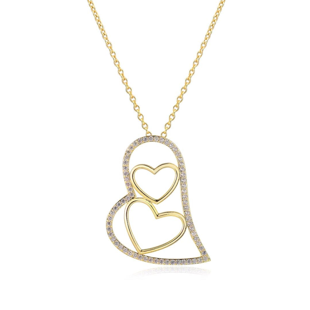Nested Hearts Pendant Necklace