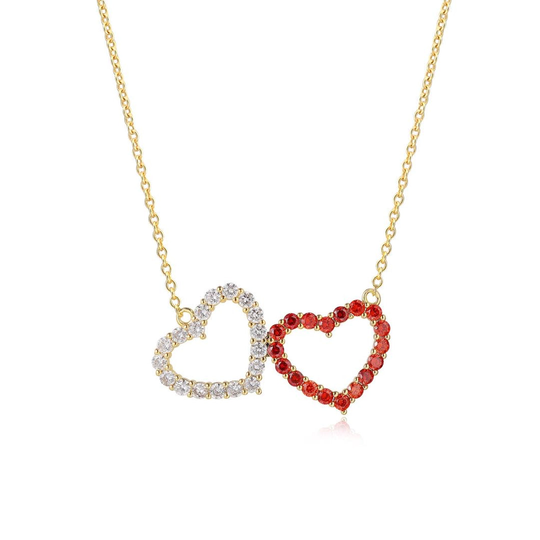 Red and Silver Twin Hearts Pendant Necklace