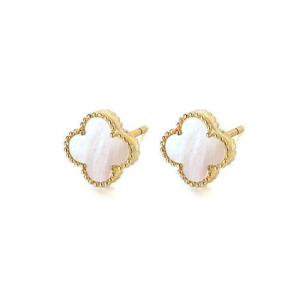 White Mother of Pearl Clover Leaf Kids Stud Earring 1