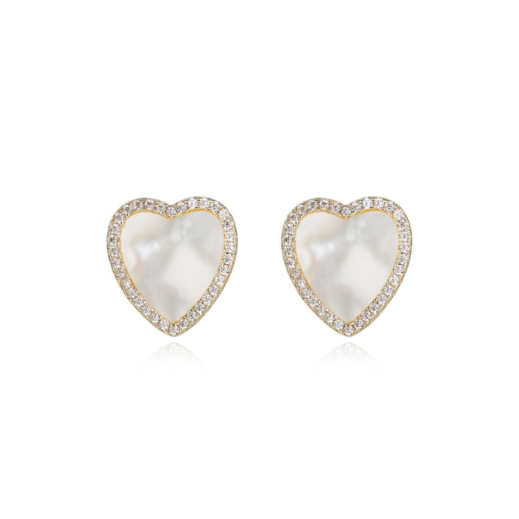 Mother of Pearl Heart Stud