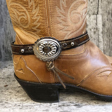 Load image into Gallery viewer, Traditional style concho on embossed leather boot bracelet
