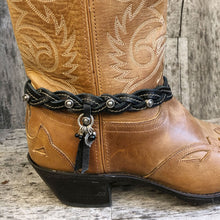Load image into Gallery viewer, Mystery braid leather boot bracelet with pewter charms