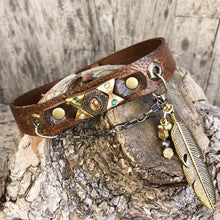 Load image into Gallery viewer, Distressed leather boot bracelet features vintage cabochon beads, crystals & charms