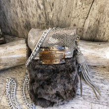 Load image into Gallery viewer, Metallic Leather and Shearling Festival Bag