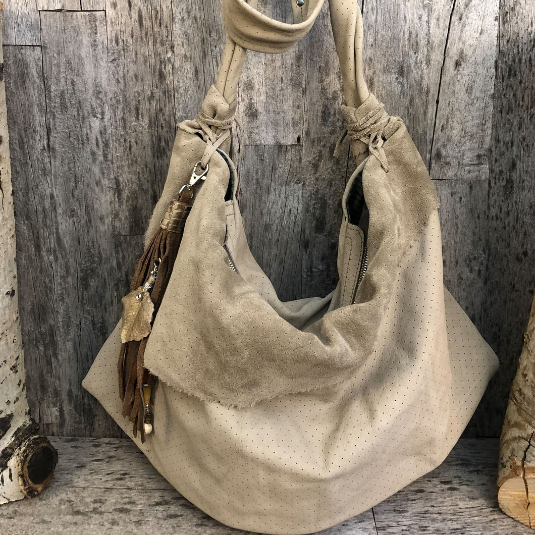 Italian Suede Leather Hobo Bag