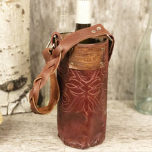 Load image into Gallery viewer, Vintage cowboy boot Spirit bag in merlot leather with crystal rivets and concho