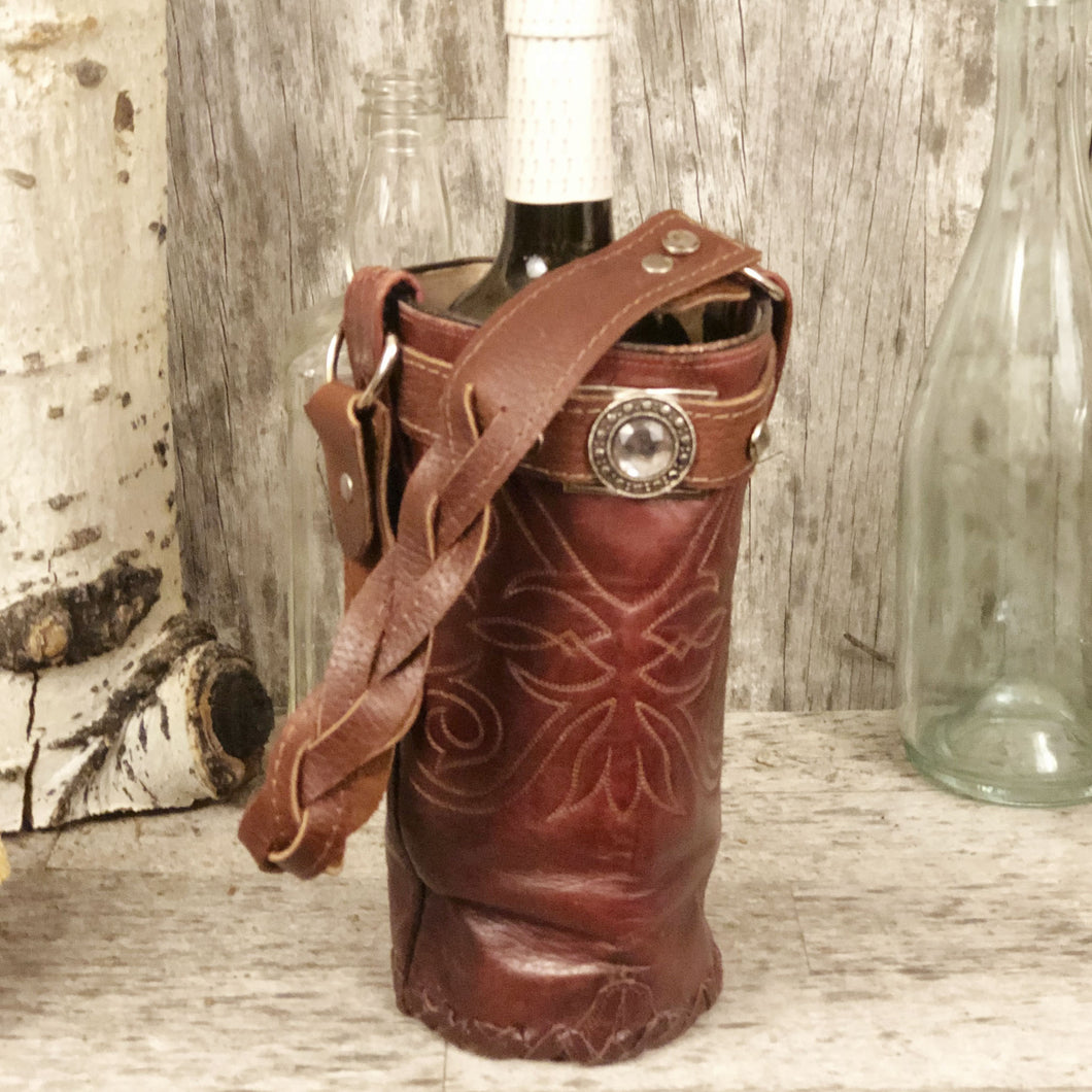 Vintage cowboy boot Spirit bag in merlot leather with crystal rivets and concho