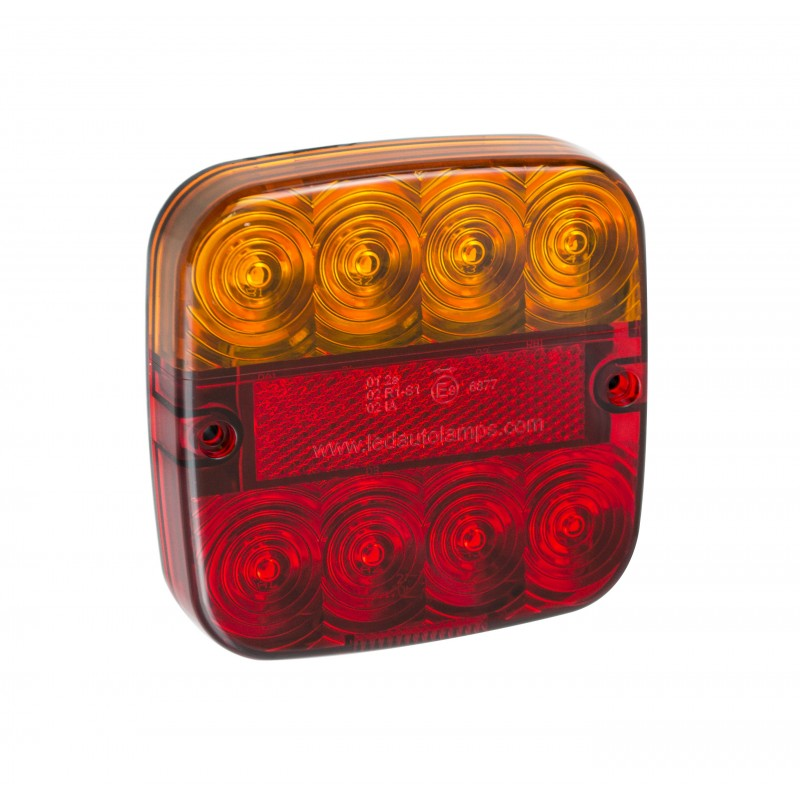 PAIR 12V SQUARE LED AUTOLAMPS STOP / TAIL / INDICATOR LAMP WITH REFLECTOR 99AR2 - Mid-Ulster Rotating Electrics Ltd