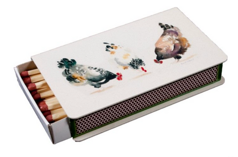 Long Matchbox Cover with matches:  Chickens