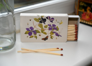 Long Matchbox Cover with matches:  Clematis