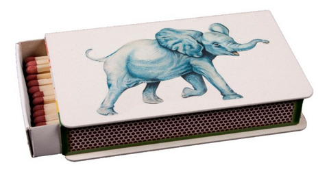Long Matchbox Cover with matches: Elephant