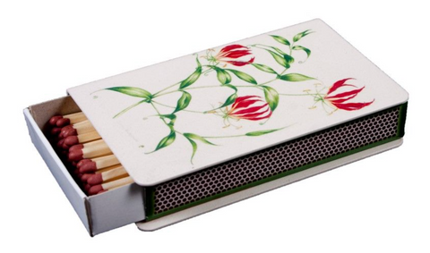 Long Matchbox Cover with matches:   Flame Lily