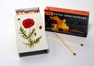 Long matchbox cover with matches:  Poppy