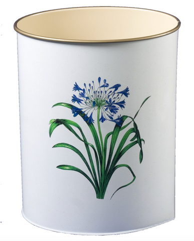Oval Waste Paper Bin: Agapanthus