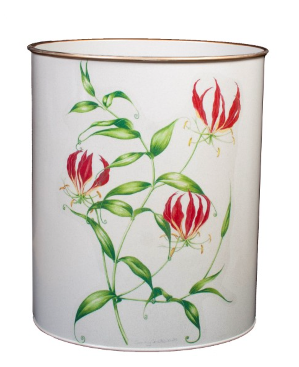 Oval Waste Paper Bin: Flame Lily