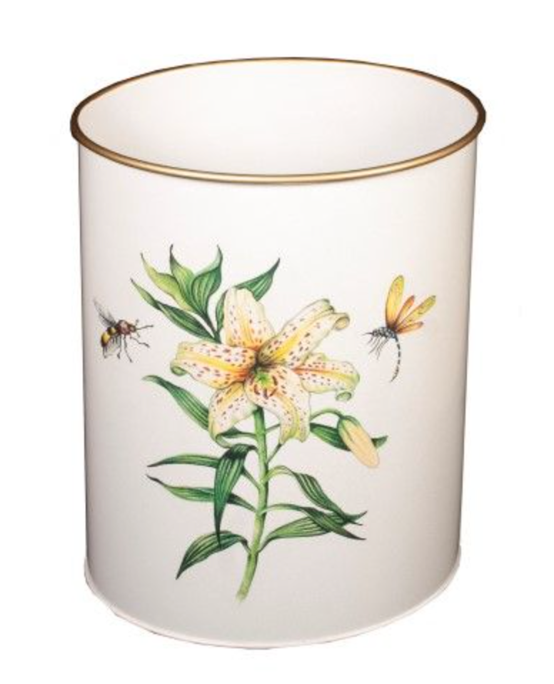 Oval Waste Paper Bin: Japanese Lily