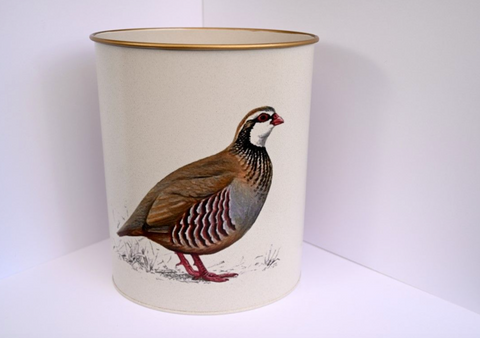 Oval Waste Paper Bin: Partridge