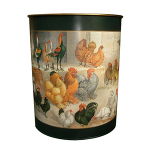 Oval Waste Paper Bin: Chickens on Dark Green