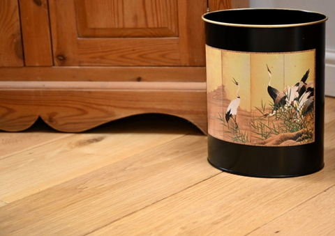 Oval Waste Paper Bin: Chinese Stork on black
