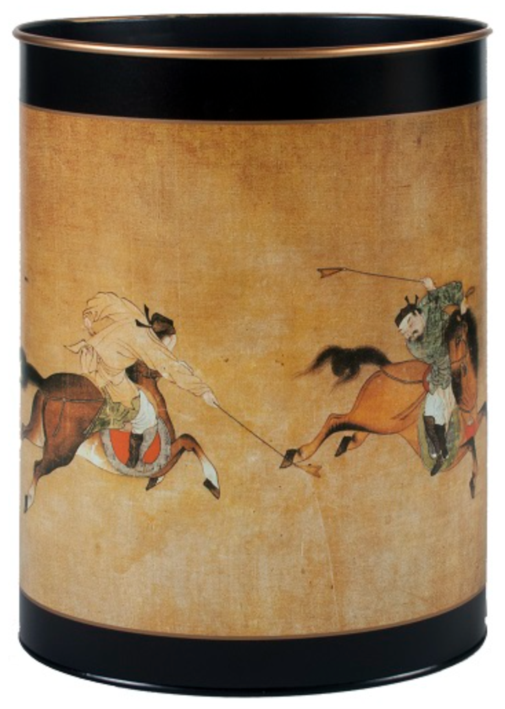Oval Waste Paper Bin: Ming Polo on Black