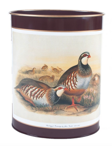 Oval Waste Paper Bin: Partridge on Dark Red