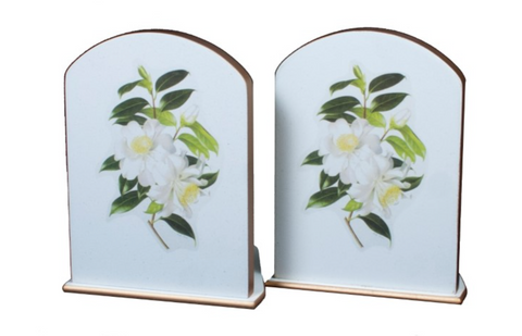 Pair of Bookends: Camellia