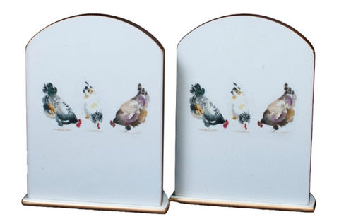 Pair of Bookends: Chickens