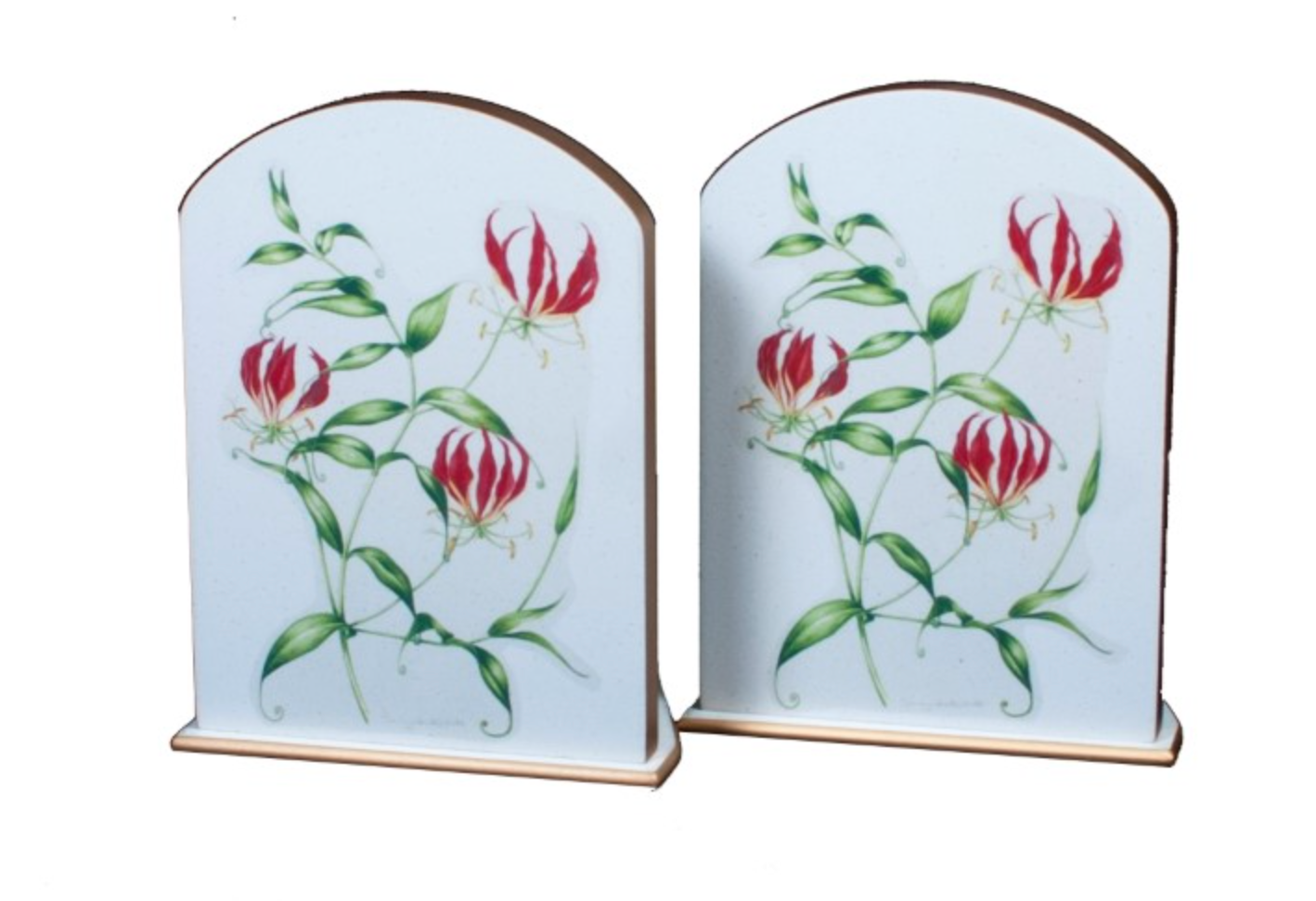 Pair of Bookends: Flame Lily