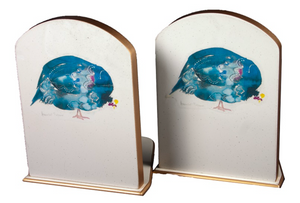 Pair of Bookends: Guinea Fowl