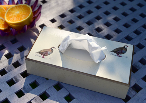 Rectangular Tissue Box: Partridge