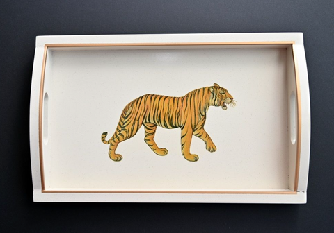 Rectangular Wooden Tray: Tiger