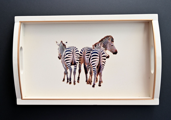 Rectangular Wooden Tray: Zebra