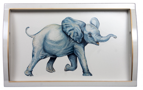 Rectangular Wooden Tray: Elephant