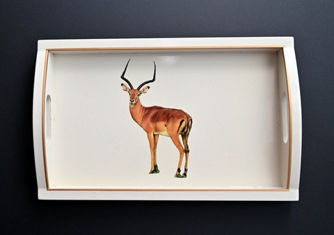 Rectangular Wooden Tray: Impala
