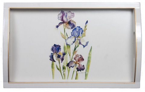 Rectangular Wooden Tray: Iris