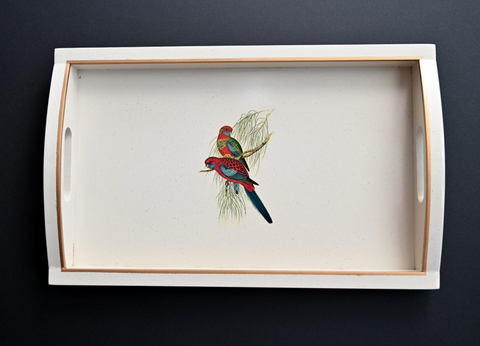 Rectangular Wooden Tray: Pair of Parrots