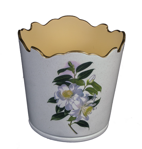 Scalloped Top Cachepot/Decorative Planter: Camellia