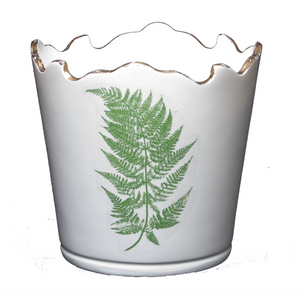 Scalloped Top Cachepot/Decorative Planter: Fern