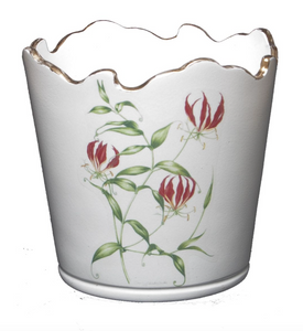 Scalloped Top Cachepot/Decorative Planter: Flame Lily