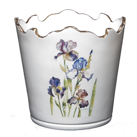 Scalloped Top Cachepot/Decorative Planter: Iris