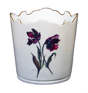 Scalloped Top Cachepot/Decorative Planter: Parrot Tulip