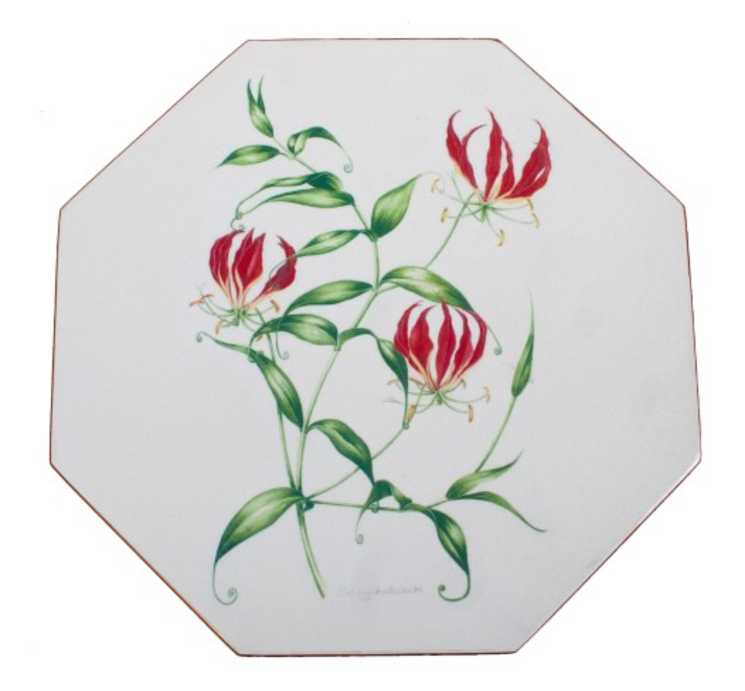 Octagonal Placemats Set of 4 (boxed): Flame Lily