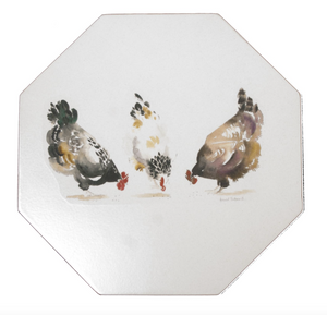 Octagonal Tablemats Set of 4 (Boxed): Chickens