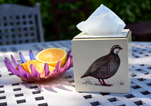 Square Tissue Box Cover: Partridge