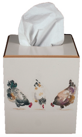 Square Tissue Box Cover: Chickens