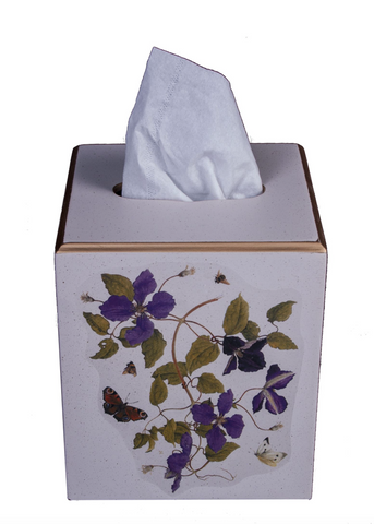 Square Tissue Box Cover: Clematis