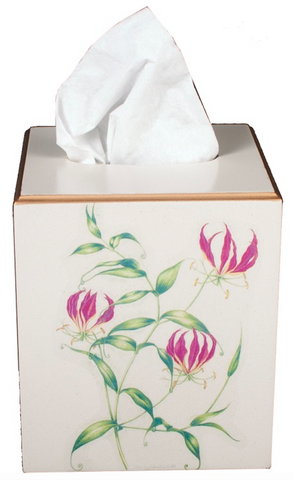Square Tissue Box Cover: Flame Lily