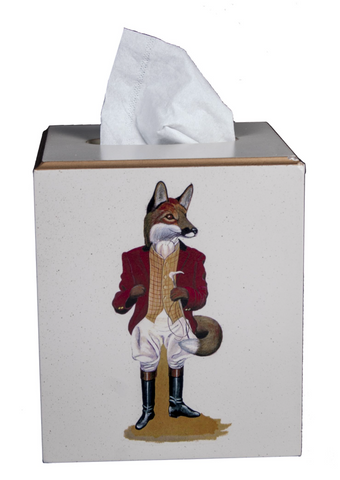 Square Tissue Box Cover: Fox
